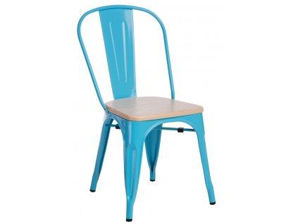 Modrá kovová jídelní židle Tolix s borovicovým sedákem