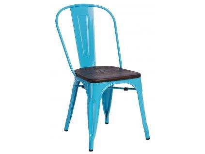 Modrá kovová jídelní židle Tolix s tmavým borovicovým sedákem