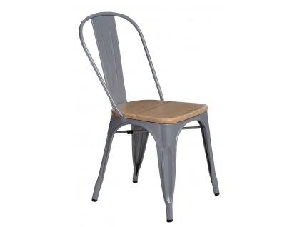Šedá kovová jídelní židle Tolix s borovicovým sedákem