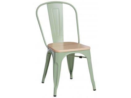 Zelená kovová jídelní židle Tolix s borovicovým sedákem