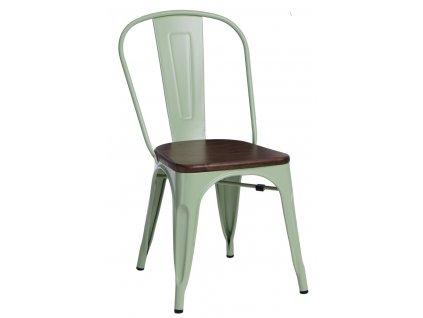 Zelená kovová jídelní židle Tolix s tmavým borovicovým sedákem