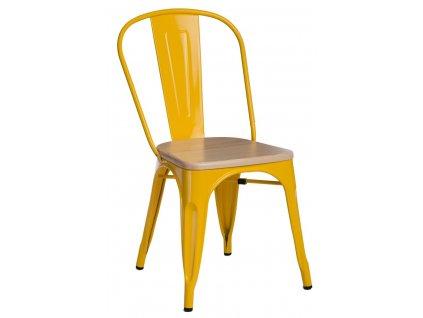 Jídelní židle Tolix 45, žlutá/borovice