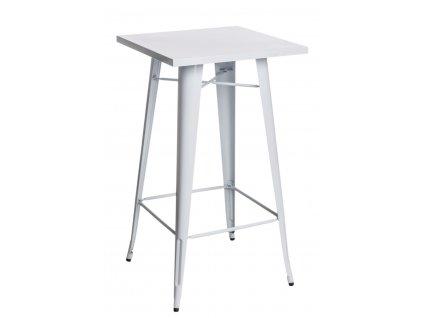 Bílý kovový barový stůl Tolix