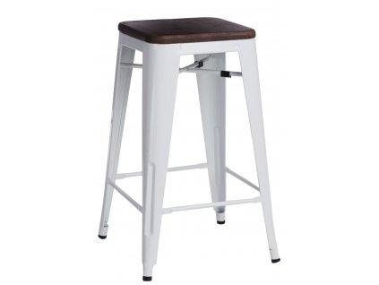 Bílá kovová barová židle Tolix  s ořechovým sedákem 75 cm