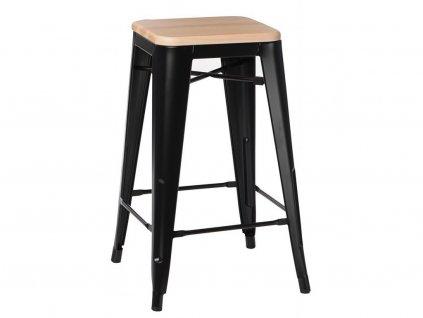 Designová barová židle Tolix 75 s borovicovým sedákem