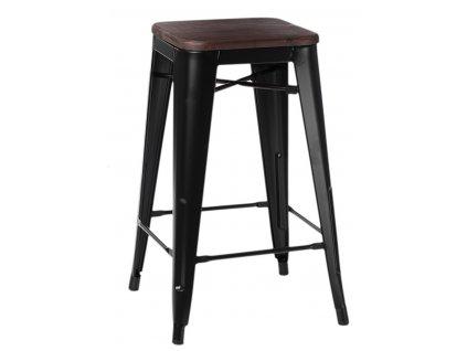 Designová barová židle tolix černé barvy s dřevěným sedákem v odstínz ořechu
