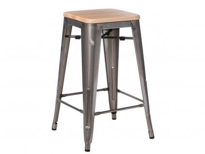 Stříbrná metalická barová židle Tolix s borovicovým sedákem 75 cm