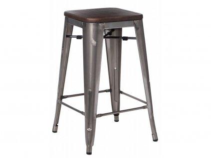 Designová barová židle Tolix 75 s kovovou konstrukcí a dřevěným sedákem