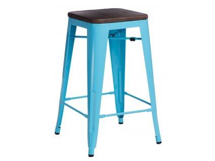 Modrá kovová barová židle Tolix s ořechovým sedákem 75 cm