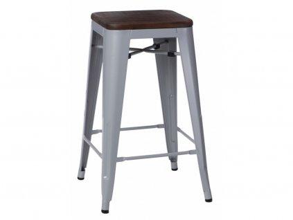Designová šedivá barová židle Tolix 75 s tmavým dřevěným sedákem