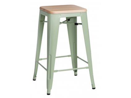 Designová zelená barová židle Tolix 75 s dřevěným borovicovým sedákem