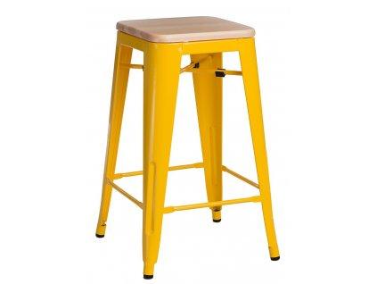 Designová žlutá barová židle Tolix 75 kovová s dřevěným borovicovým sedákem