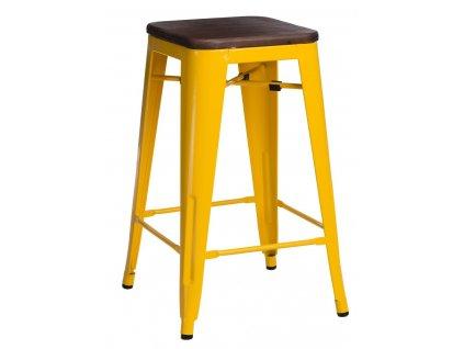 Stylová žlutá barová židle Tolix 75 s dřevěným sedákem a kovovou konstrukcí