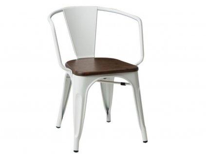 Bílá kovová jídelní židle Tolix s tmavým borovicovým sedákem a područkami