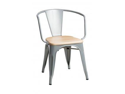 Jídelní židle Tolix 45 s područkami, šedá/borovice