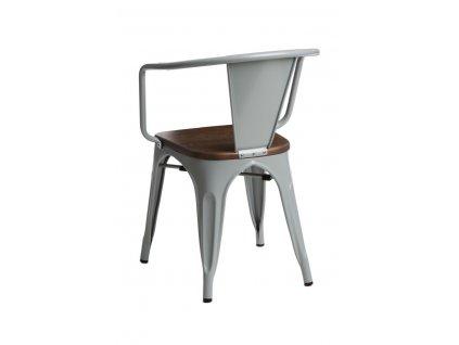 Jídelní židle Tolix 45 s područkami, šedá/ořech