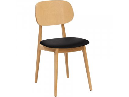 Černá dubová koženková jídelní židle Rabbit