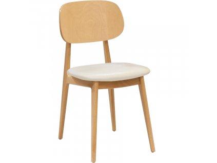 Bílá dubová koženková jídelní židle Rabbit