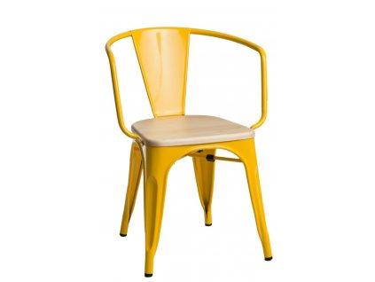 Jídelní židle Tolix 45 s područkami, žlutá/borovice