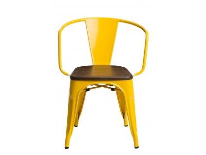 Jídelní židle Tolix 45 s područkami, žlutá/ořech
