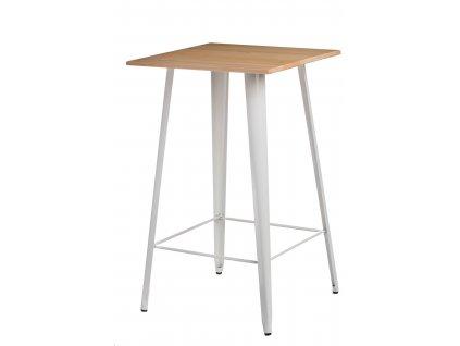 Bílý kovový barový stůl Tolix s jasanovou deskou