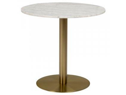 Bílý mramorový bistro stůl Aron 80 cm se zlatou kartáčovanou podnoží