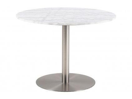 Bílý mramorový jídelní stůl Aron 105 cm s kartáčovanou chromovou podnoží