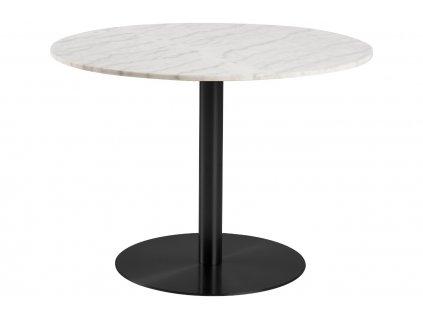 Bílý mramorový jídelní stůl Aron 105 cm s černou podnoží