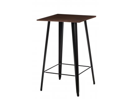 Černý kovový barový stůl Tolix s borovicovou deskou