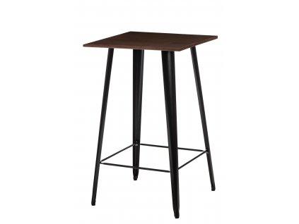 Designový černý barový stůl Tolix z kovu a s ořechovou deskou