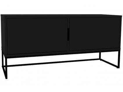 Matně černý lakovaný TV stolek Tenzo Lipp 118,5 x 43 cm