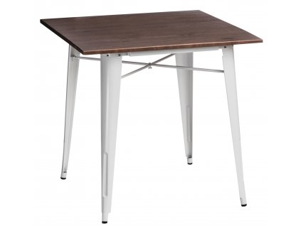 Bílý kovový jídelní stůl Tolix 81 x 81 cm s borovicovou deskou