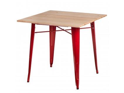 Červený kovový jídelní stůl Tolix 81 x 81 cm s jasanovou deskou
