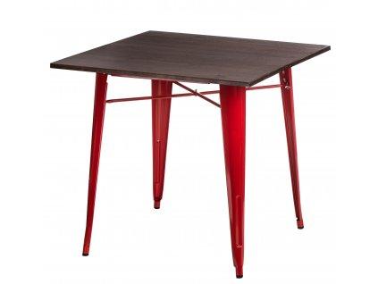 Červený kovový jídelní stůl Tolix 81 x 81 cm s borovicovou deskou
