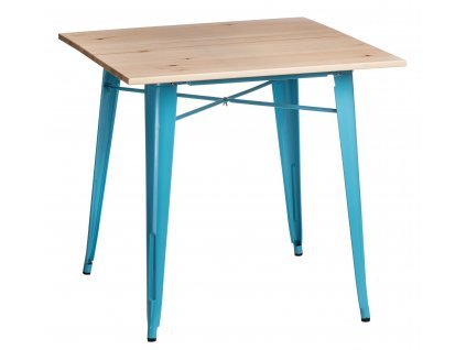 Modrý kovový jídelní stůl Tolix 81 x 81 cm s jasanovou deskou