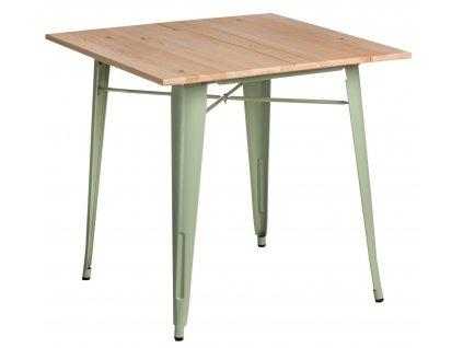 Světle zelený borovicový bistro stůl Tolix 76 x 76 cm