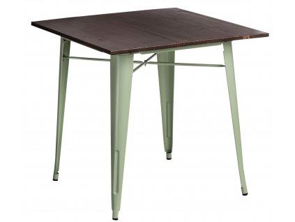 Světle zelený kovový jídelní stůl Tolix 81 x 81 cm s borovicovou deskou