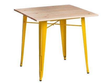 Žlutý kovový jídelní stůl Tolix 81 x 81 cm s jasanovou deskou