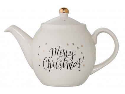 Bílá keramická vánoční konvice na čaj Bloomingville Noel 1,2 l