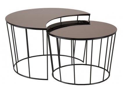 Bronzový skleněný set konferenčních stolků Solar, zrcadlové sklo, černě lakovaný kov
