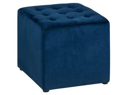 Tmavě modrý sametový taburet Ruvio 38 x 38 cm