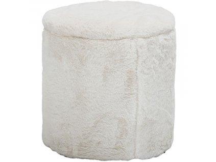 Bílý plyšový taburet Bloomingville Siabella 37 cm