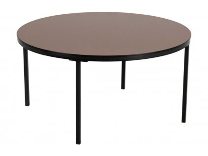 Měděný skleněný konferenční stolek Hood 80 cm, bezpečnostní sklo, lakovaný kov