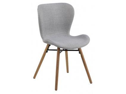 Šedá látková jídelní židle Matylda, masivní dubové dřevo ošetřené olejem, černě lakovaný kovový kříž