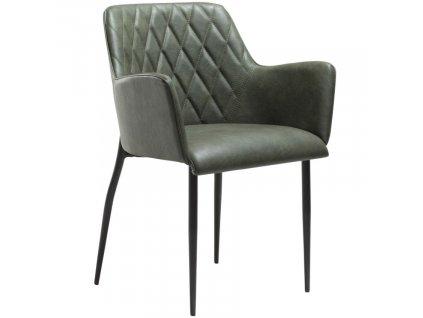 Zelená koženková vintage jídelní židle DanForm Rombo