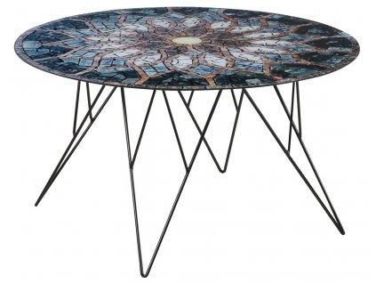 Konferenční stolek Stark 80 cm, sklo, potisk