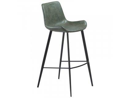 Zelená koženková barová židle DanForm Hype 75 cm