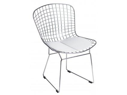 Designová chromová židle Harry s bílým čalouněným podsedákem