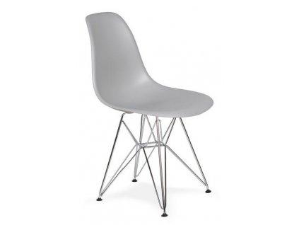 Světle šedá plastová židle DSR