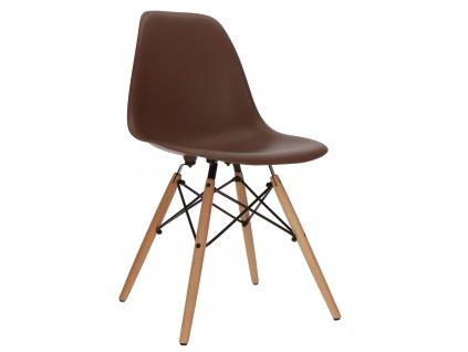 Hnědá plastová židle DSW s bukovou podnoží